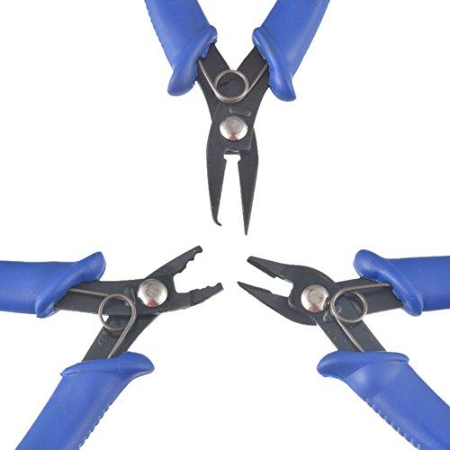 Souarts Blue Stainless Steel Serrated Jaws Plier Flat Nose Plier Cutting Plier 3 Piece Pliers Set