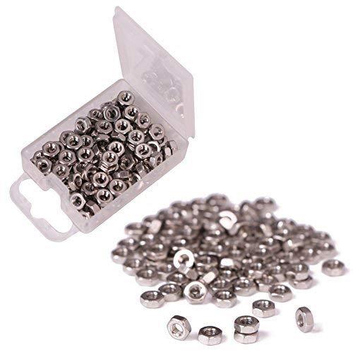 Shapenty 100PCS 3mm Small Stainless Steel Female Thread Hex Screw Nut Fastener Tool M3