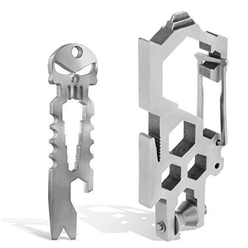 Stainless Steel Survival Punisher Pocket Pry BarEDC Carabiner Skull Bottle Opener Multi Key Chain Tool Outdoor Pry Bar Pocket Tool Crank Crowbar Pocket Pry Bar Opener Keychain Pliers Screwdriver