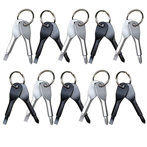 TUANTUAN 10 Set EDC Key Ring Outdoor Multifunction Key Chain Screwdriver Pocket Mini Tool Screwdriver Set with Key RingSilver and Black