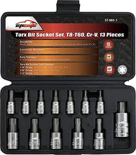 13 Pieces - EPAuto Torx Bit Socket Set T8-T60 Cr-V