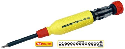 Megapro 151RV Alloy Steel Hex RV Multi Bit 15 in 1 Screwdriver 1-14 Hex Nut 8-12 Length