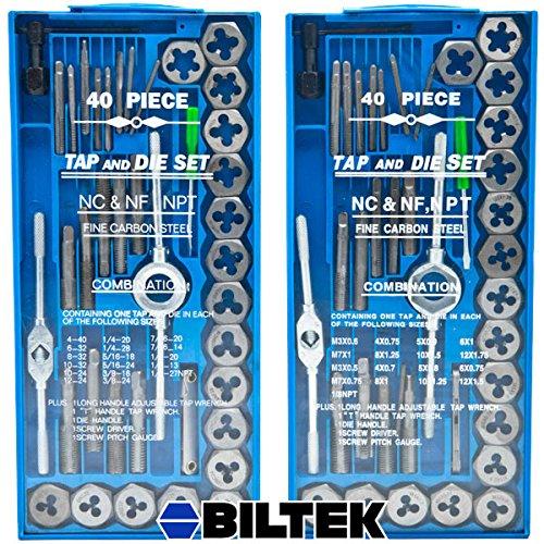 Biltek 80pc Professional SAE Metric Tap and Die Set T-Handle Wrench Screw Pitch Gauge