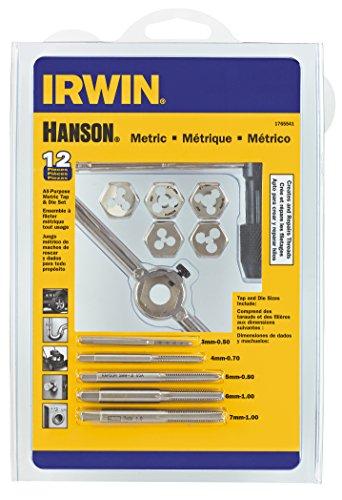 Hanson 1765541 3mm-7mm Tap plus Die Set Metric for Tap Die Extraction 12 Piece