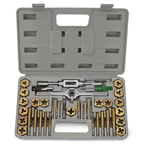 40 Pc Titanium Tap And Die Tool Set SAE Fine Standard W Case