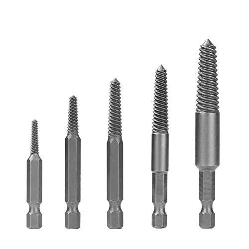 5 Pcs Hex Shank Damaged Screw Extractor Set Broken Bolt Extractor Drill Bits Kit Broken Bolt Stud Remover Set B - Fine Teeth