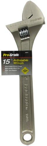Pro-Grade 15015 15-Inch Adjustable Wrench Satin Finish