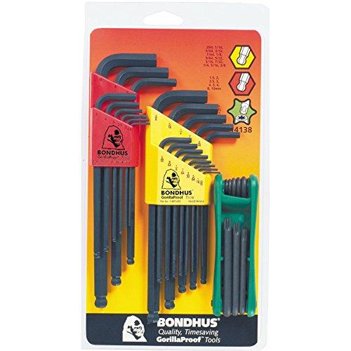 Bondhus 14138 Triple Pack Balldriver L-wrench Sets 10937 050-38-Inch 10999 15-10mm and GorillaGrip Star Fold-up Set 12634 T9-T40