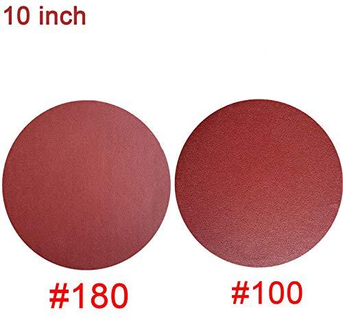 10 PCS 10-Inch NO-Hole PSA Aluminum Oxide Sanding Disc Self Stick5 Each of 100 180
