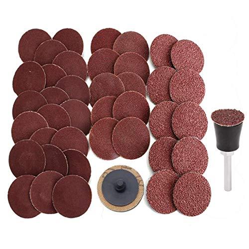 50PCS 1 inch Roll Lock Sanding Disc VÉZAAR Quick Change Discs 36 60 80 120 240 Grit Assortment Die Grinder Accessories with 14 Dia Arbor