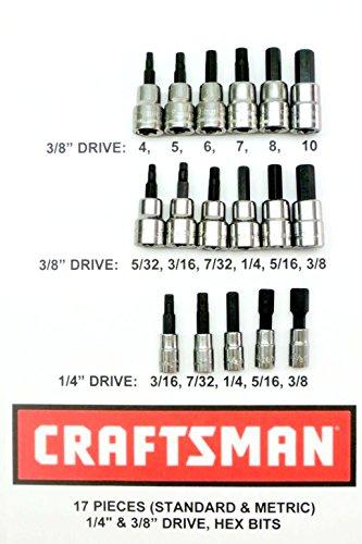 Craftsman 17 Piece Standard Sae  Meric MM 38 and 14 Drive Hex Bit Allen Socket Set