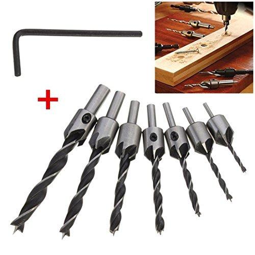 Mohoo 7pcs HSS 5 Flute Countersink Drill Bit Set Carpentry Reamer Woodworking Chamfer End Milling 3mm-10mm