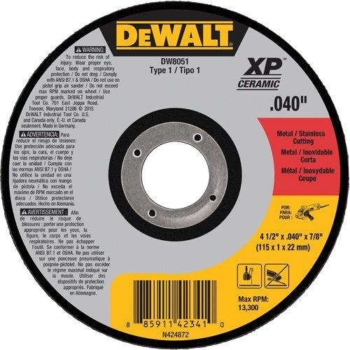 DEWALT DW8051 Type 1 MetalStainless Steel Cutting Wheel 4-12 x 004 x 78