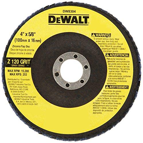 DEWALT DW8304 4-Inch by 58-Inch 120 Grit Zirconia Angle Grinder Flap Disc