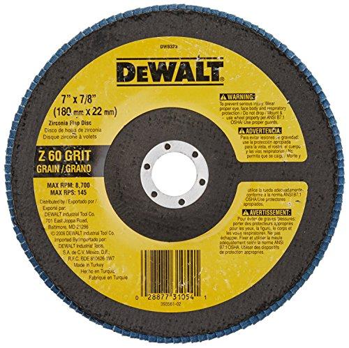 DEWALT DW8323 7-Inch by 78-Inch 60 Grit Zirconia Angle Grinder Flap Disc
