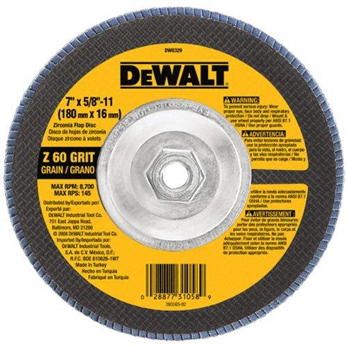 DEWALT DW8329 7-Inch by 58-Inch-11 60 Grit Zirconia Angle Grinder Flap Disc