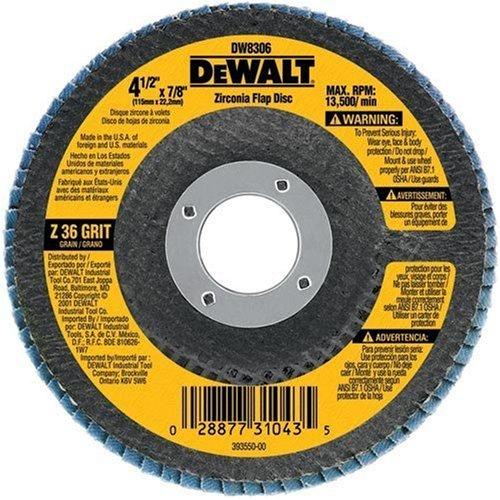 DEWALT DW8332 5-Inch by 58-Inch-11 36 Grit Zirconia Angle Grinder Flap Disc