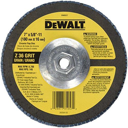 DEWALT DW8327 7-Inch by 58-Inch-11 36 Grit Zirconia Angle Grinder Flap Disc