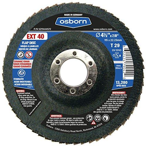 Osborn 5211444572 29 Ceramic 40 Grit Flap Disc T29 4-12 x 78 EXT 40 45 Type Pack of 10