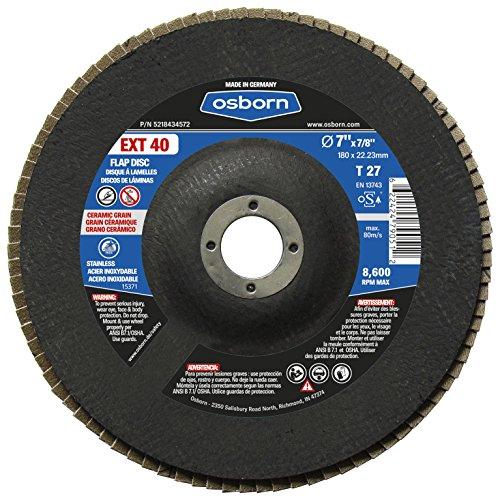 Osborn 5218434572 27 Ceramic 40 Grit Flap Disc T27 7 x 78 EXT 40 7 Type Pack of 10