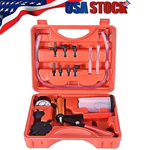 Car manual vacuum pump,2 In 1 Brake Bleeder Vacuum Pump Gauge Test Tuner Kit Tools DIY Hand Tools(Ship from US)