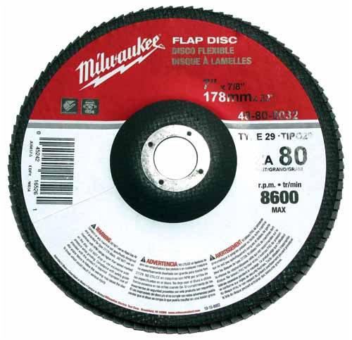 MILWAUKEE ELECTRIC TOOL 48-80-8032 80 Grit Flap Disc 7 x 78