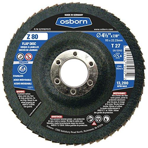 Osborn 5211187572 45 Type 27 Zirconia Alumina 80 Grit Flap Disc T27 4-12 x 78 Z 80 Pack of 10