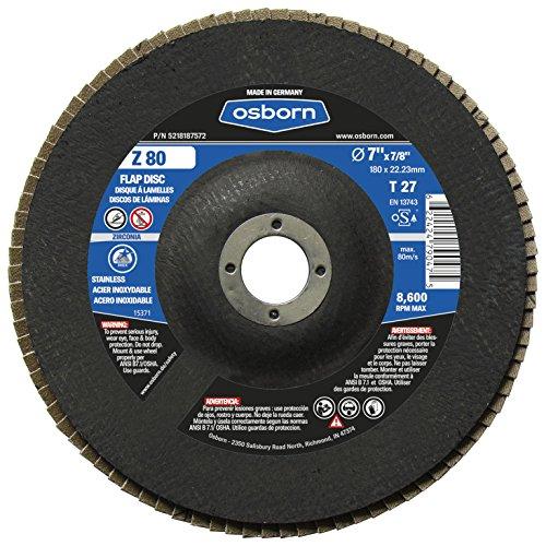 Osborn 5218187572 7 Type 27 Zirconia Alumina 80 Grit Flap Disc T27 7 x 78 Z 80 Pack of 10