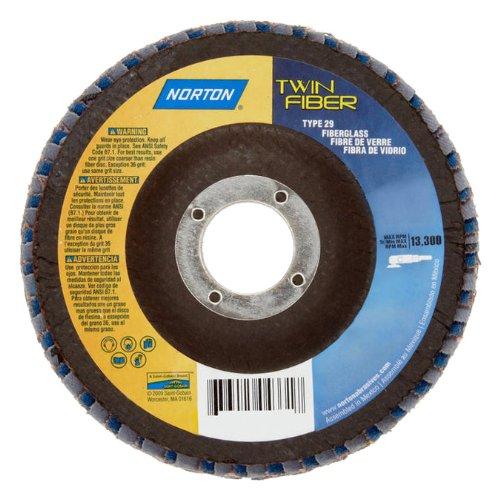 Norton RedHeat Abrasive Flap Disc Type 29 Round Hole Fiberglass Backing CeramicZirconia Alumina 7 Dia 120 Grit Pack of 1
