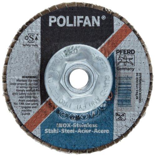 PFERD Polifan SG Abrasive Flap Disc Type 27 Threaded Hole Phenolic Resin Backing Zirconia Alumina 4-12 Dia 24 Grit Pack of 1