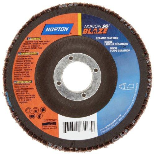 Norton Blaze R980P Abrasive Flap Disc Type 29 Threaded Hole Fiberglass Backing Ceramic Aluminum Oxide 4-12 Dia 40 Grit Pack of 1
