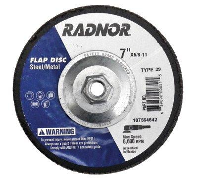 Radnor 64000892 7 X 58 - 11 40 Grit Zirconia Alumina Type 29 Flap Disc 1 PER CASE
