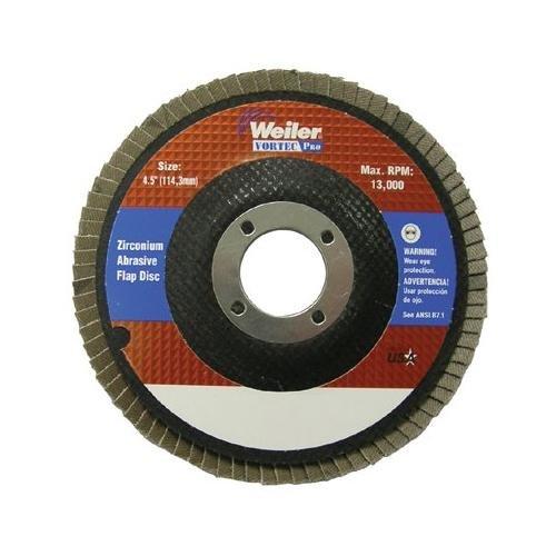 Weiler 804-31348 Vortec Pro Zirconia Alumina Type 29 Flap Disc 24 Grit 58-11 UNC 13000 rpm 4 12 Pack of 10