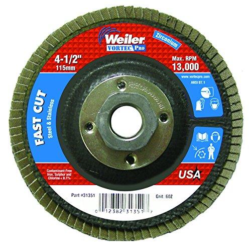 Weiler 804-31351 Vortec Pro Type 29 Flap Disc Zirconia Alumina 4-12 60 Grit 58-11 UNC 13000 rpm