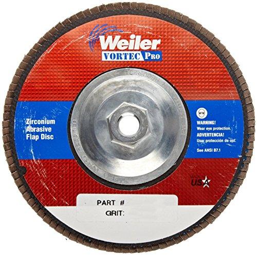Weiler 804-31366 Vortec Pro 31366 Zirconia Alumina Type 29 Flap Disc 24 Grit 58-11 UNC 8600 rpm 7