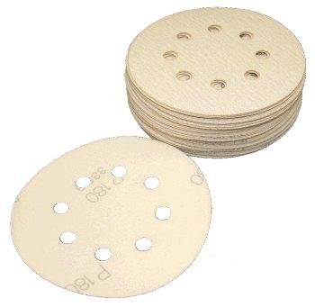 5 Inch Hook Loop Sanding Discs 8 Holes 400 Grit Box of 50