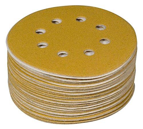 POWERTEC 44201XG-100 Assorted Grit Sanding Discs Hook and Loop Orbital Sander 6-Inch 8 Hole  20 Each of 80 100 120 150 220 Grit Aluminum Oxide Round Sand Paper Gold 100 Pack
