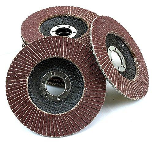 GHP Set of 10 Aluminum Oxide Flap Disc Grinding Wheel Sanding Flat Disc
