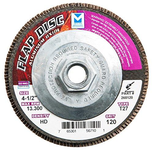 Mercer Industries 260H120 Aluminum Oxide Flap Disc High Density Type 27 4 12 x 58 11 Thread Grit 120 10 Pack