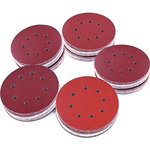 AUSTOR 100 Pieces 8 Holes Sanding Discs 5 Inch Hook and Loop 10001200 15002000 3000 Grit Sandpaper Assortment for Random Orbital Sander