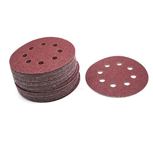 Antrader 50 PCS 5 Inch 40 Grit Sanding Disc 122mm 8 Hole Hook and Loop Sandpaper Air Power Angle Grinder Sander Disk Abrasive Tools Polising Pad for Random Orbit Sanders