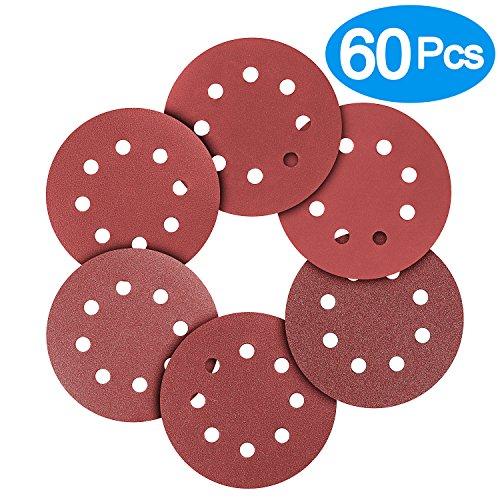 BonyTek 60 PCS 5 Inch 8 Hole Sanding Discs 10 Discs Each of 180 240 320 400 600 800 Grits Hook and Loop Sander Sand Paper Assortment for Random Orbital Sander