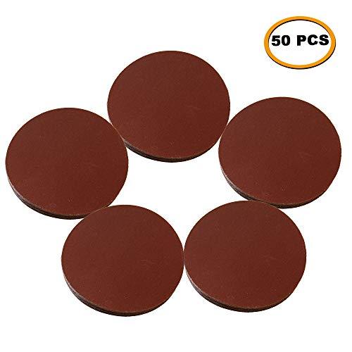 SHINA 50pcs 7 60 GRIT Sanding Discs Hook Loop Backed Aluminum Oxide Sandpaper