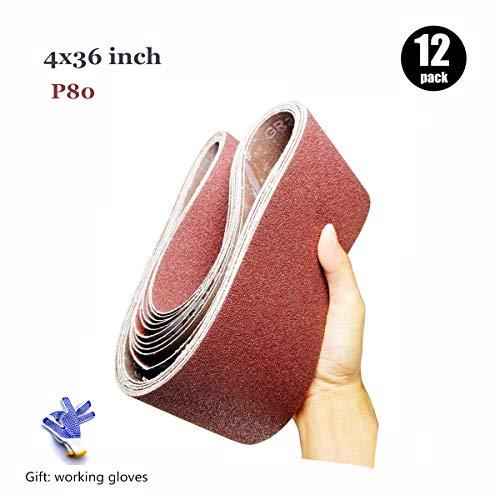 4 x 36 Inch Sanding Belt80 Grit Aluminum Oxide Sanding belts 4x3612-Pack4x36in80 Grit