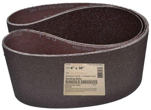 Sungold Abrasives 35066 4 X 36 80 Grit Sanding Belts Premium Industrial X -Weight Aluminum Oxide 3-Pack