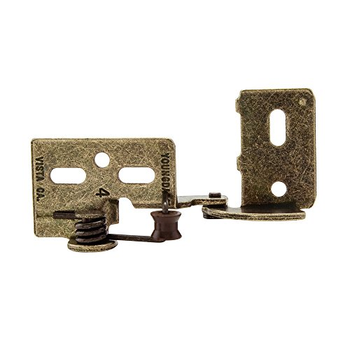 Snap Closing Semi-Concealed Hinges - Antique brass pair - 38 overlay