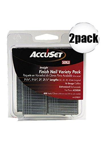 Senco A409809 2X 800Pk Galvanized Finish Nails 16 Gauge Variety Pack