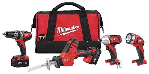New Milwaukee 2695-24 M18 18 Volt 4 Tool Cordless Tool Set Drills Saw Light
