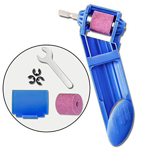 Portable Drill Bit Sharpener Corundum Grinding Wheel Hand Powered Tool Fit Width Range 2-125mm Iron-based Bits Blue