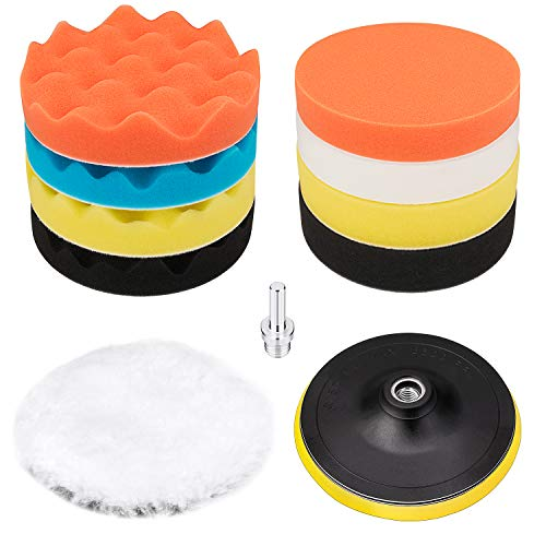 6 Inch Buffing and Polishing Pad Kit 11 PCS with Drill Adapter